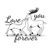 Sweet couple in love deer with lettering — Stock Vector