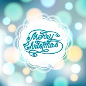 Magical festive background with bright lights and ornate lettering. — Vector de stock