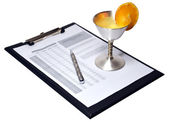 Silver pen with document — Stock Photo