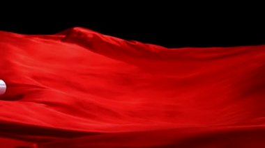 Flowing red curtain with ribbon — Stock Video