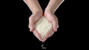 Hand holds grains of rice — Stock Video