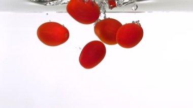 Cherry tomatoes through water — Stock Video