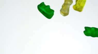 Gummy bear falling in the air — Stock Video