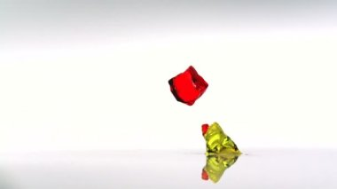 Colorful cubes of  jelly falling — Stock Video