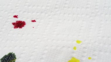 Ink dripping on paper towel — Stock Video