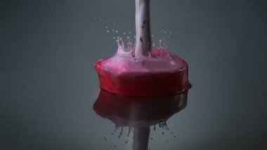 Pouring red paint — Stock Video