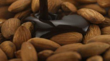 Chocolate sauce on almond — Stock Video