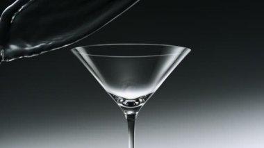 Water splash in martini glass — Stock Video