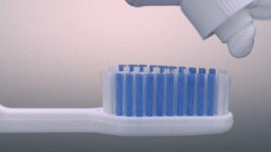 Toothbrush paste on toothbrush — Stock Video