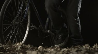 Pushing bike on dried leaves — Vídeo de Stock