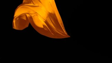 Orange fabric flowing in the air — Stock Video