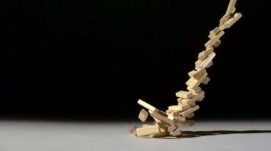 Dropping wood blocks on floor — Stock Video