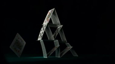 Pyramid house of cards — Stock Video