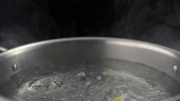 Throwing farfalle pasta into boiled water in pot — Vidéo