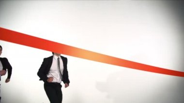 Business men crossing the line — Vídeo stock