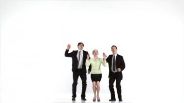 Business people jumping and rejoicing — Stock Video