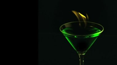 Fire blowing out of martini glass — Stok video