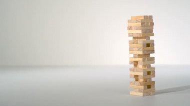 Collapsing block tower — Stockvideo