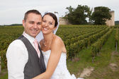 Bride & Groom Married Couple close to a vinyard — Stock Photo
