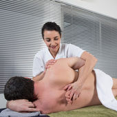 Man in Spa massage salon, relaxing — Stock Photo