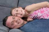 Father and daughter laughing and being happy — Stock Photo