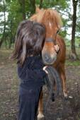 Relation between a horse and a girl — 图库照片