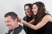 Hairdressing and trainees — Stock Photo
