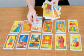 Draw tarot , A Clairvoyance equipment for fortunetelling — Stock Photo