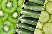 Fresh green vegetables and fruits — Stock Photo