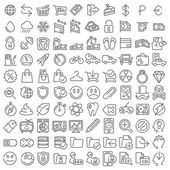 100 vector line icons set for web design and user interface — Stock Vector