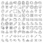 100 vector line icons set for web design and user interface — Wektor stockowy