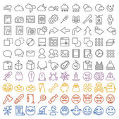 100 vector icons set for web and user interface also special hal — Stock Vector