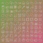One hundred  vector line icons set — Stock Vector