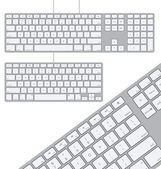 Two Vector Modern Aluminum Computer Keyboards — Stock Vector