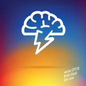 Vector hjärnan moln tunn linje-ikonen — Stockvektor