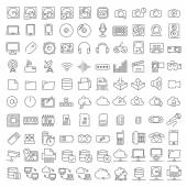 One hundred icons of electronics and digital devices — Vector de stock