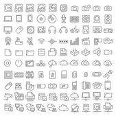 One hundred icons of electronics and digital devices — Stock Vector