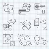 Shopping and delivery icons set — Stock Vector