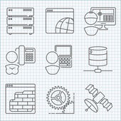 Communication and web service  icons set — Stock Vector