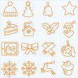 Thin line winter and Christmas time icons set — 图库矢量图片 #58871167