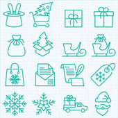 Winter and Christmas time shopping and delivery icons set — Stock Vector