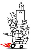 Purchases in Shopping cart — Stock Vector