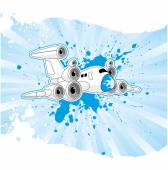 Jet plane with loudspeakers — Stock Vector