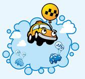 Taxi in blue sky — Vector de stock