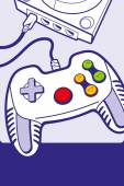 Gamepad with console illustration — Vecteur