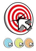 Computer Cursor in bullseye — Stock Vector