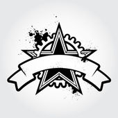 Black grunge styled star — Vector de stock