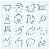 Baby linear icons — Stock Vector