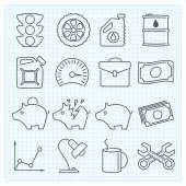 Miscellaneous linear icons — Stock Vector