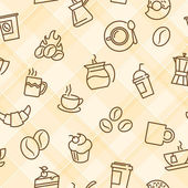 Seamless patterns with coffee theme — Cтоковый вектор